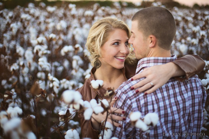 Leather jacket- love these engagement photos! Get cozy in a cotton field