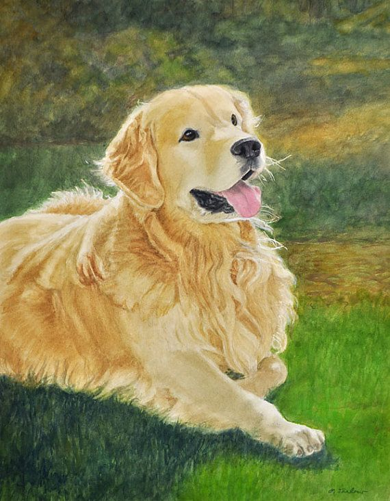 Golden Retriever aquarelle Art Print de peinture par PTarlowArt