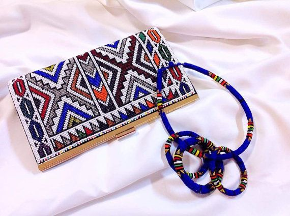 Ndebele beaded clutch purse and matching jewelry set by ZuluBeads