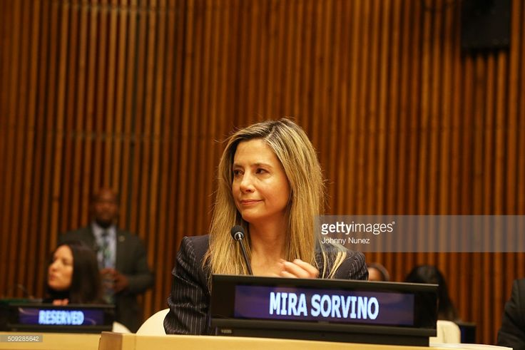 Mira Sorvino attends the UNODC High Level Event On Human Trafficking at United Nations on February 9, 2016, in New York City.
