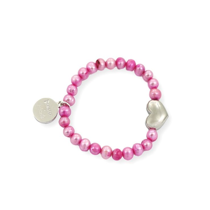 NICOLE HEART Bracelet - Silver with Pink Pearls