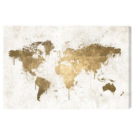 Showcasing a world map, this eye-catching canvas print is a perfect addition to your entryway or den gallery wall.  Product: Can...