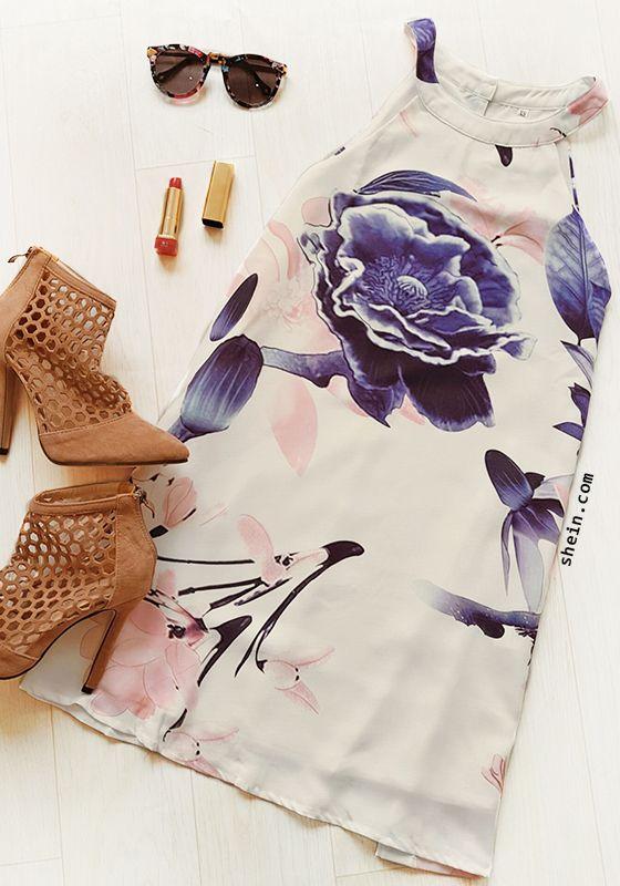 Multicolor Floral Print Keyhole Back Dress