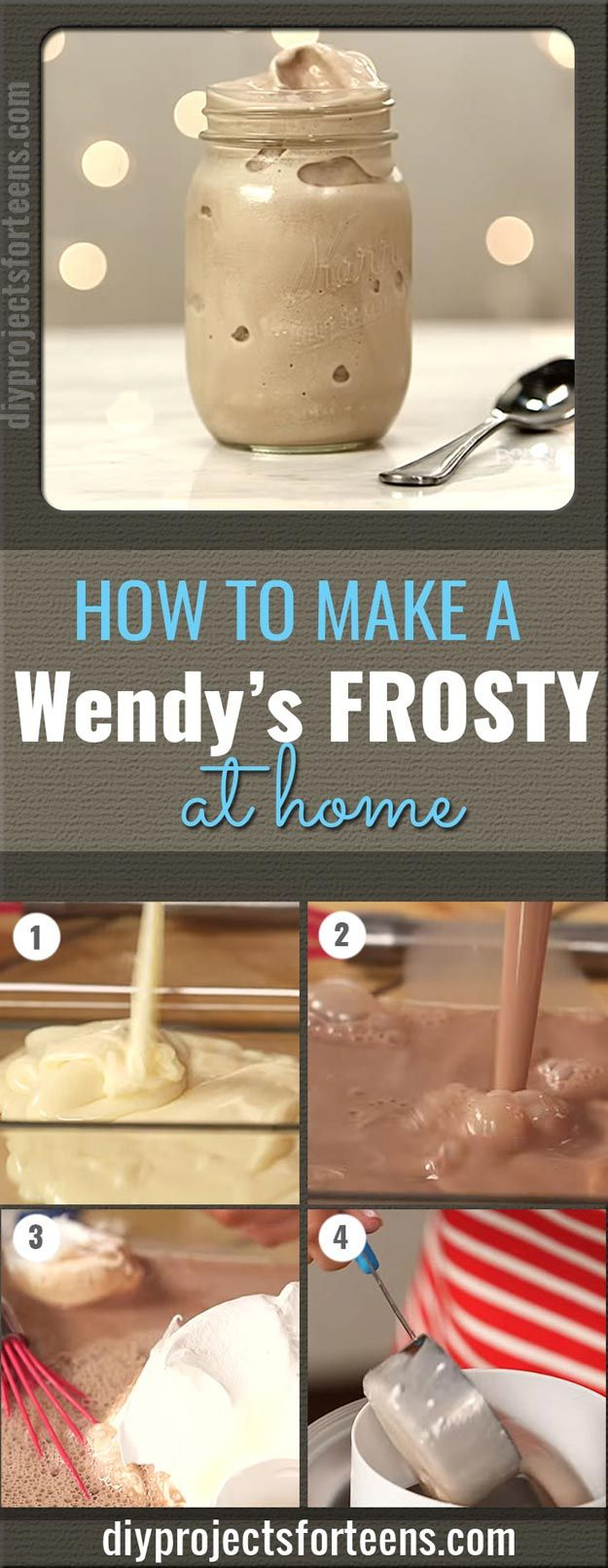 Copycat Recipes From Top Restaurants. Best Recipe Knockoffs from Chipotle, Starbucks, Olive Garden, Cinabbon, Cracker Barrel, Taco Bell, Cheesecake Factory, KFC, Mc Donalds, Red Lobster, Panda Express | Make A Wendy's Frosty At Home With Only 3 Ingredients | http://diyjoy.com/copycat-recipes