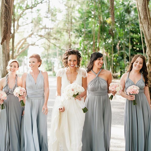 Shades of gray - gray tone bridesmaid dresses by Dessy Group. Bridesmaids are wearing our Twist Wrap dress