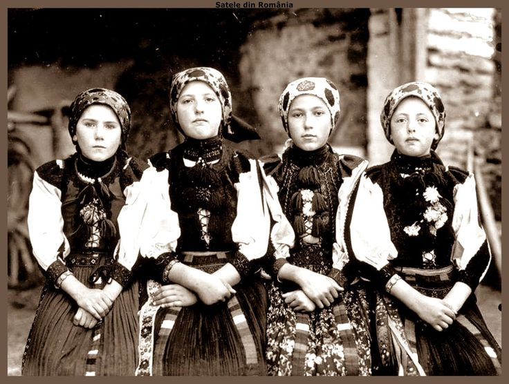 Portraits of young girls, Hungarian, in folk costume of Viştea, Cluj area.