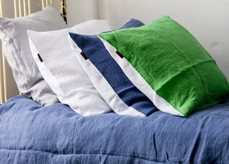 LANGØ linen pillowcases in different colors.