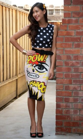 Comic book themed pencil skirt available at Nordstrom