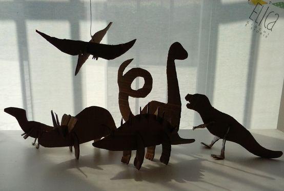 Dinosauri di cartone, laboratori per bambini, idee creative.
