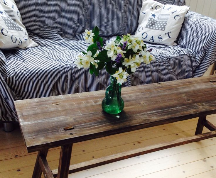 Lovely woodbench used as table