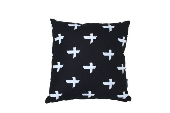 Black criss cross linen cushion cover by BettyandMoose on Etsy