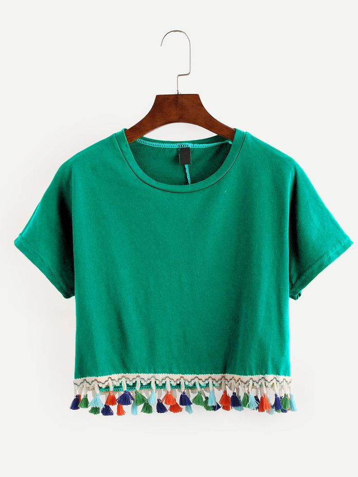 Shop Green Tassel Trimmed Crop T-shirt online. SheIn offers Green Tassel Trimmed Crop T-shirt & more to fit your fashionable needs.