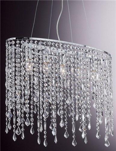 Rain, lampada a sospensione con pendagli con elementi in cristallo molato.