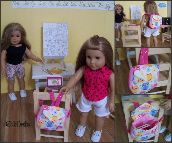Owl print Backpack for American Girl or by GiGisDollCreations