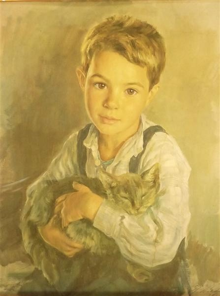 Cats in Art, Portrait of Boy and his Cat, henrique medina