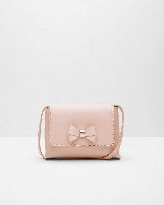 Bow detail leather crossbody bag - Peach | Bags | Ted Baker