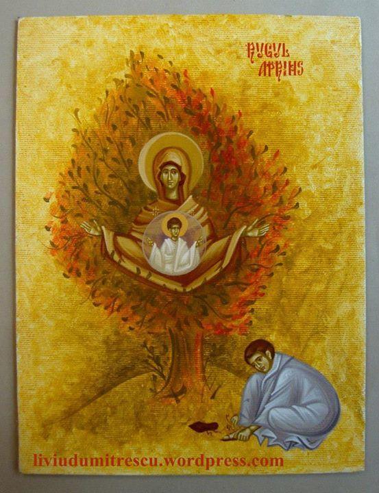 """L'icona della Madre di Dio detta """"Roveto ardente"""" deve il suo nome al miracolo testimoniato da Mose nel vecchio testamento. Nel III capitolo dell'Esodo, Dio chiama Mose sul monte Oreb, dal mezzo di un cespuglio che bruciava a fuoco vivo, ma senza consumarsi egli ode la voce di Dio che gli comunica l'incarico di salvare gli Ebrei dalla schiavitù in Egitto. In quella occasione Dio confida a Mose il suo nome: """"Io sono Colui che sono"""" (Esodo 3.14). Quando Dio parlò a Mose, questi udì la Parola…"""