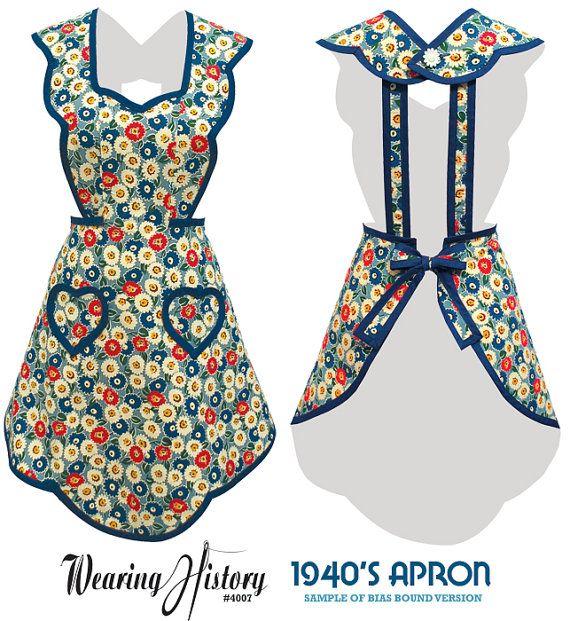 1940s Apron- Wearing History PDF Vintage Sewing Pattern $12.00 AT vintagedancer.com