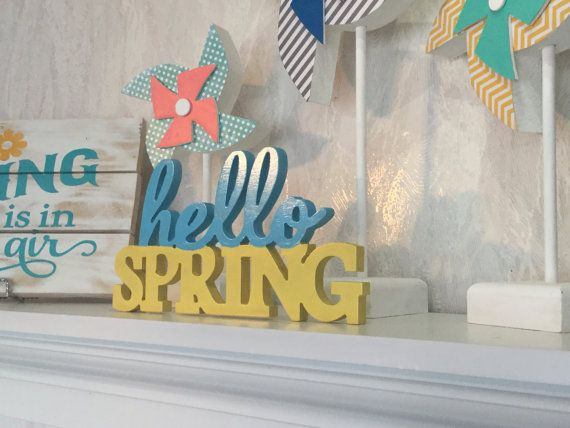hello spring wood letters free standing by callahancreationsllc