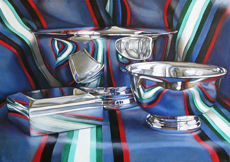 Jeanette Pasin Sloan / Silver Bowls / 24x34 / Oil on Linen