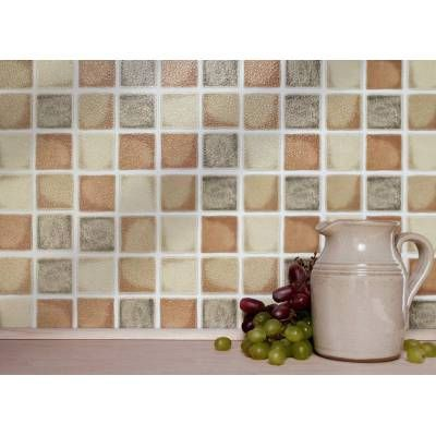 """FARMHOUSE MOSAIC - 4"""" x 4"""" Tiles (10cm x 10cm)  18 TILES PER BOX   Each box will cover 2 sqr. ft. (0.2m)  No Cementing, No Grouting  Steam & Water Resistant    Easy to use Self Adhesive Wall Tiles for Kitchens, Bathrooms, Worktops, Tabletops and Bedrooms.  Can be applied over any size existing tiles, directly onto the wall or onto any smooth non-porous surface."""