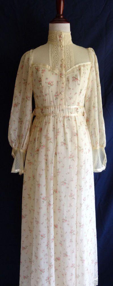 VTG Gunne Sax Romantic Victorian Lace Prairie Boho Hippie Peasant Wedding Dress  | eBay