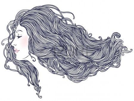 Salone di bellezza Ritratto di bella giovane donna in vista profilo con lunghi capelli belli illustrazione Archivio Fotografico - 16792157