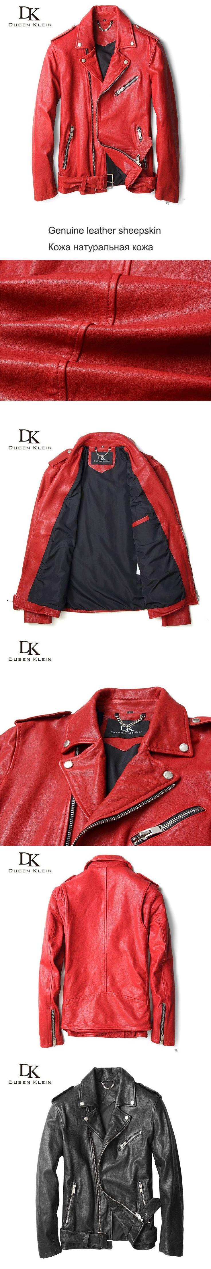 Male leather jacket motorcycle Dusen Klein  Leather coats for men Luxury Desinger coat Slim Nature sheepskin jacket red 71U8185