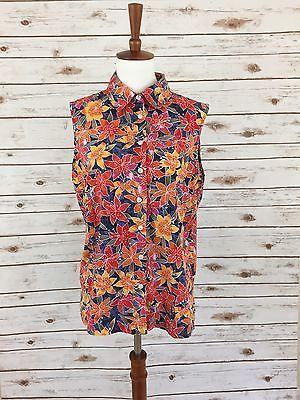 Karen Scott Sport LARGE Sleeveless Top Tropical Floral Hibiscus Button Down  | eBay