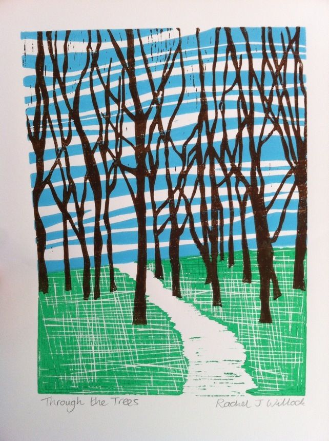 'Through the Trees' Linocut print (Spring version) £30.00