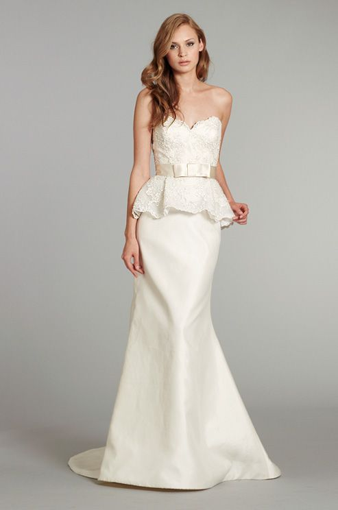 A lacy peplum #wedding dress from Tara Keely, Spring 2013