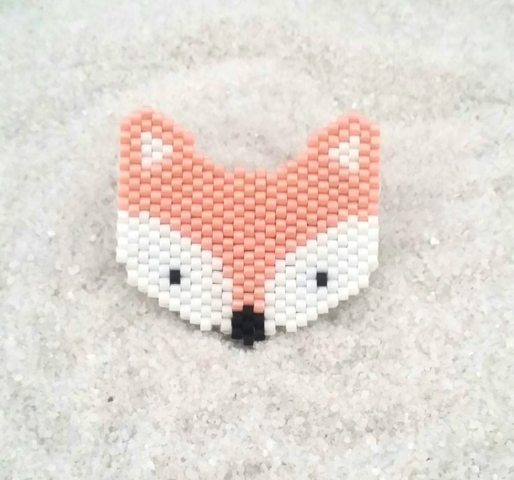 broche renard tissage peyote en perle miyuki delicat, broche création my little papeterie : Broche par my-little-papeterie