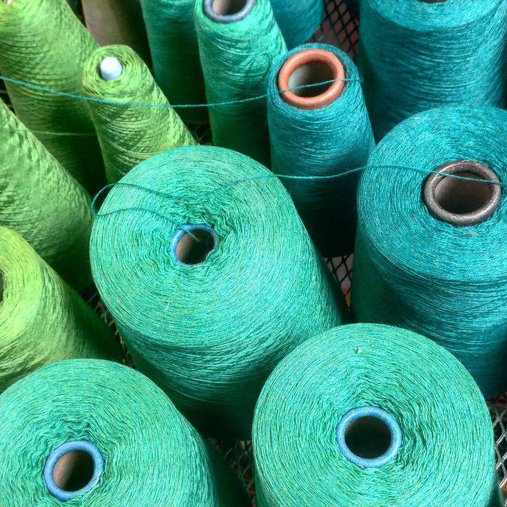 Cones set up for another warp | McKernan Woollen Mills | Handmade scarves | Made in Ireland | Irish Design | Women's Accessories | Weaving | Knitting