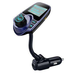VTIN Transmetteur FM sans fil Bluetooth Kit Chargeur USB de Voiture avec 3.5 mm Port Audio, Fente pour carte TF, Écran de 1.44 Pouces (Bleu)
