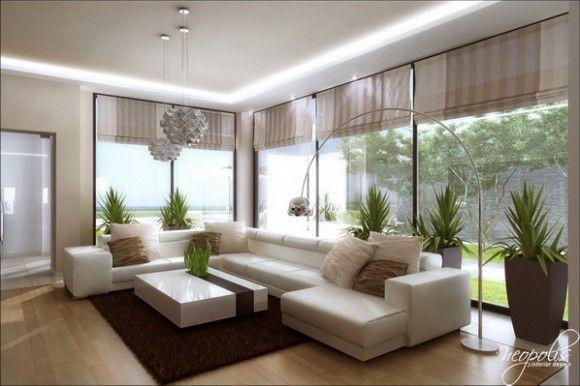 Espacios modernos. Se caracteriza por usar Muebles modulares, mesas de centro muy bajas el aluminio como metal, asimetría, blanco, negro y rojo son los colores mas usados.