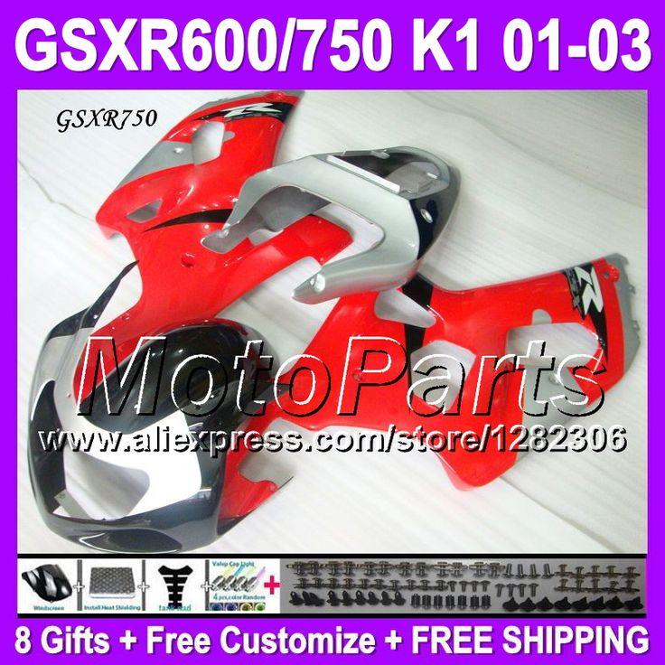 Красный серебристый 8 подарки + капот для SUZUKI к1 01 02 03 GSX-R750 GSXR750 красный черный P1A21 GSXR 750 GSX R750 2001 2002 2003 зализа