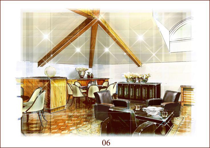 Эскизный Дизайн - проект интерьеров частного музея  по адресу Москва, ул. Знаменка 8/13Вариант №1 - шведский стиль