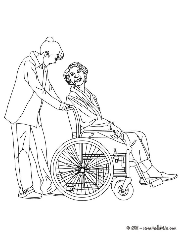 Nurse taking care of an old patient coloring page. Amazing