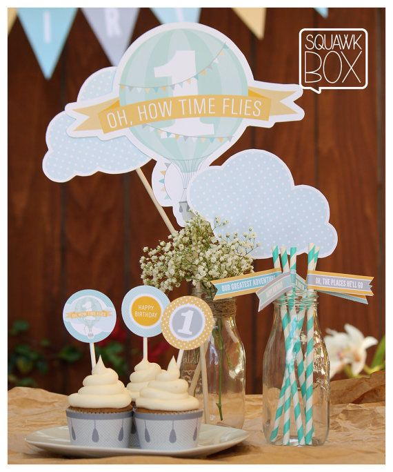 Hot Air Balloon Party Set for Boys or Girls, Printable First Birthday Party Kit by Squawk Box Studio