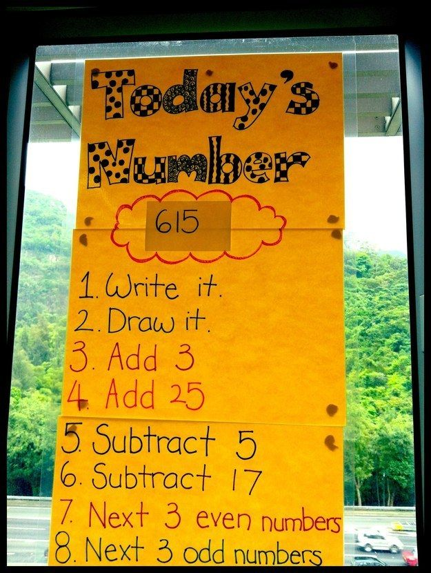 DIY a poster for a daily math warm-up. | 19 Ridiculously Simple DIYs Every Elementary School Teacher Should Know