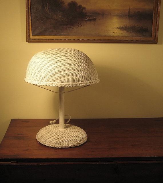 Heywood Wakefield Rattan Wicker Porch Table Lamp