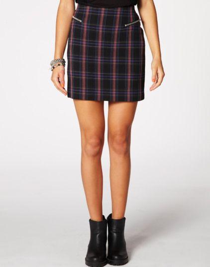 Check zip skirt