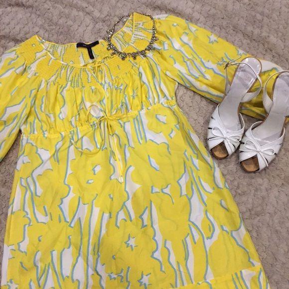 SALE  BCBG ☀️ shift dress Happy yellow shift dress. Perfect for vacation! BCBGMaxAzria Dresses Mini