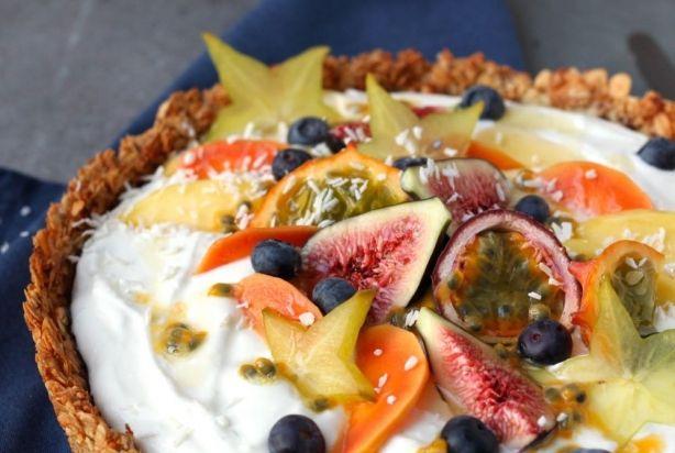Ontbijttaart met tropisch fruit