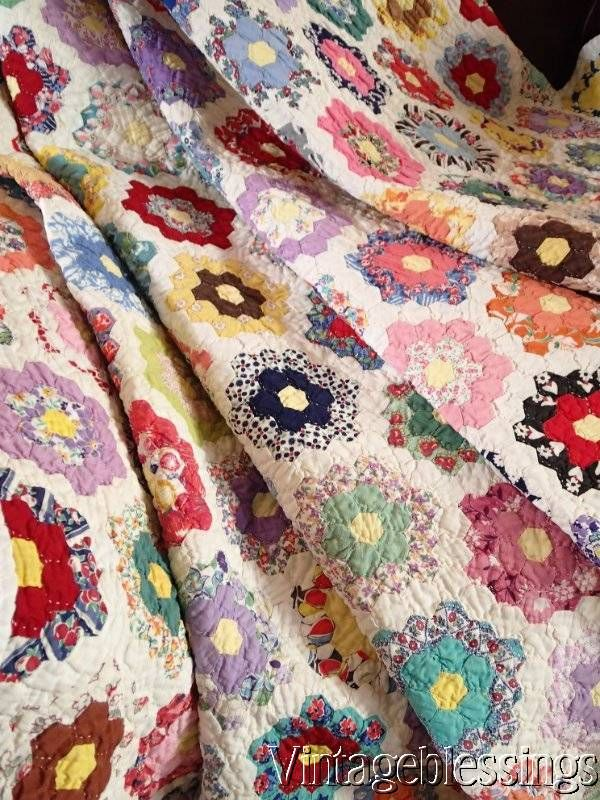 Smaller than postage stamp size pieces! Flower garden quilt http://www.ebay.com/itm/-/271918347966? www.Vintageblessings.com