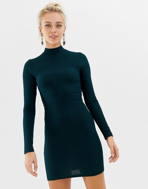 06260bd4aeee Miss Selfridge ribbed funnel neck bodycon dress in green | Fall/Winter  2018/2019 | Miss selfridge, Bodycon Dress, Funnel neck