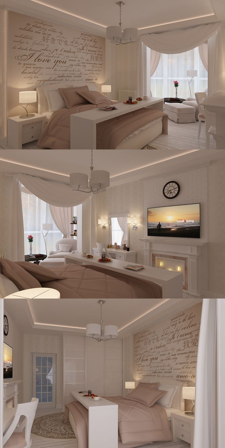 Beautiful bedroom. White and soft rose decor.