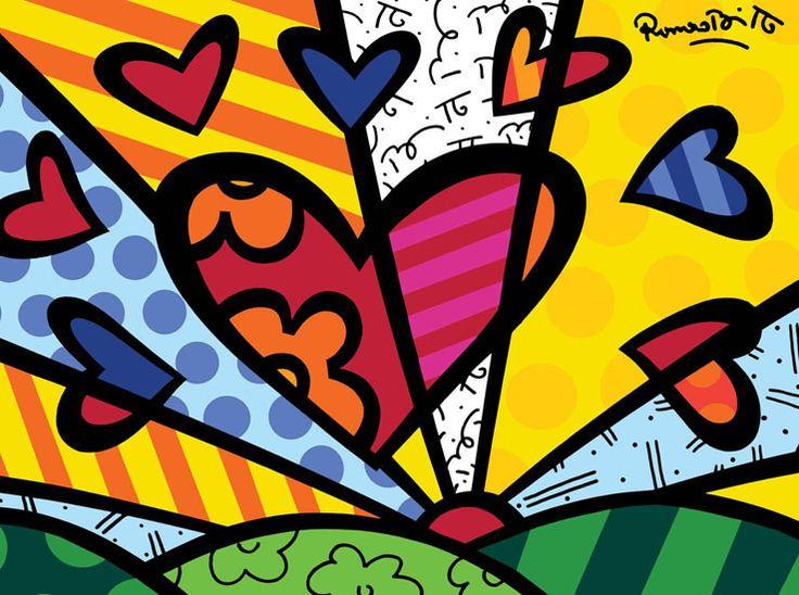 Envío gratis Custom Romer Britto corazón colorido elegante Poster pintura clásica etiqueta de la pared de Nice Home Decor PN-655 #(China (Mainland))