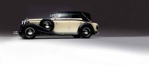 Images of Maybach's heritage, including founder Wilhelm Maybach and his son Karl.