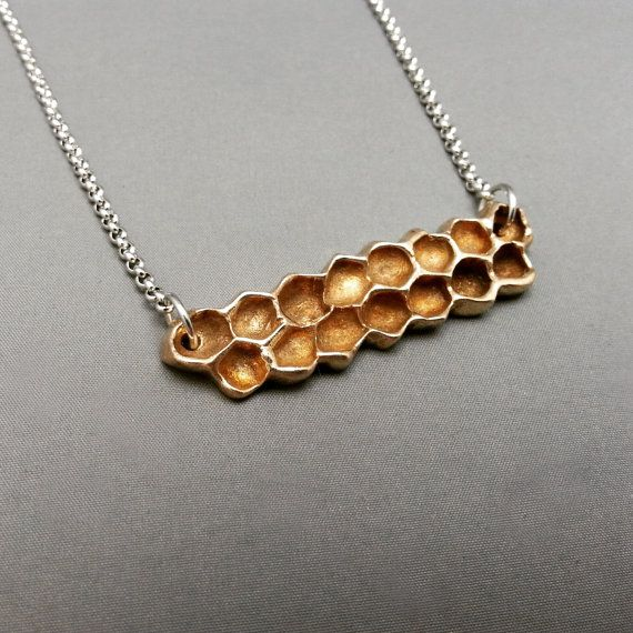 Collier Rayons de miel - Rayons de miel bronze - Bijoux bronze - Miel - Abeille - Nature